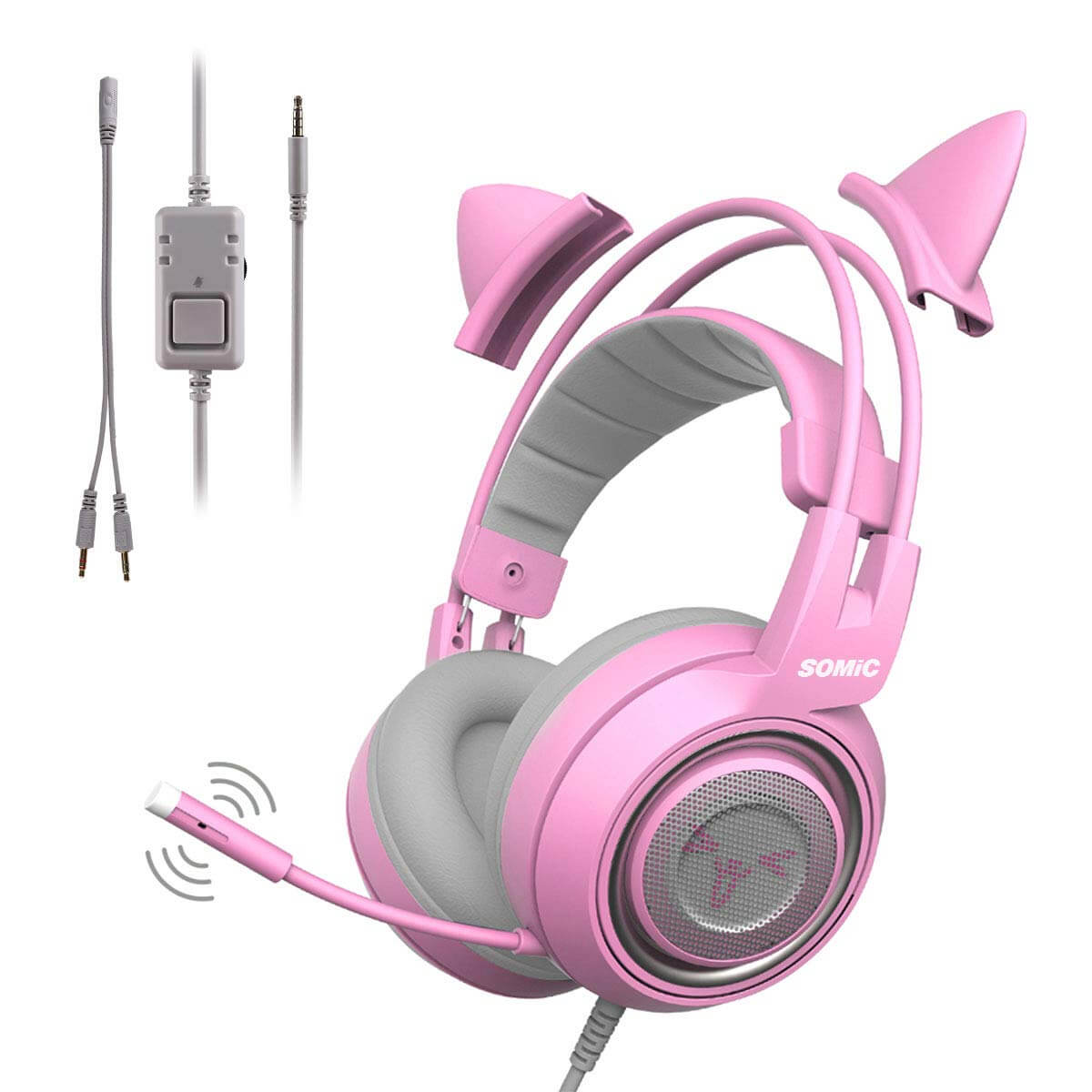 casque gamer chat rose
