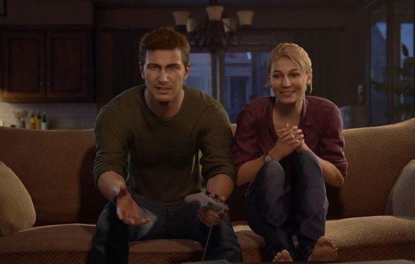 Elena et Nathan dans le canapé a jouer à la ps1